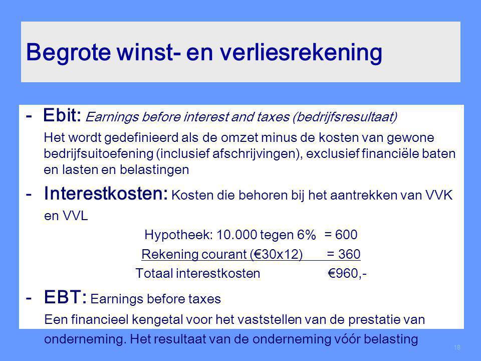 Begrote winst- en verliesrekening - Ebit: Earnings before interest and taxes (bedrijfsresultaat) Het wordt gedefinieerd als de omzet minus de kosten v