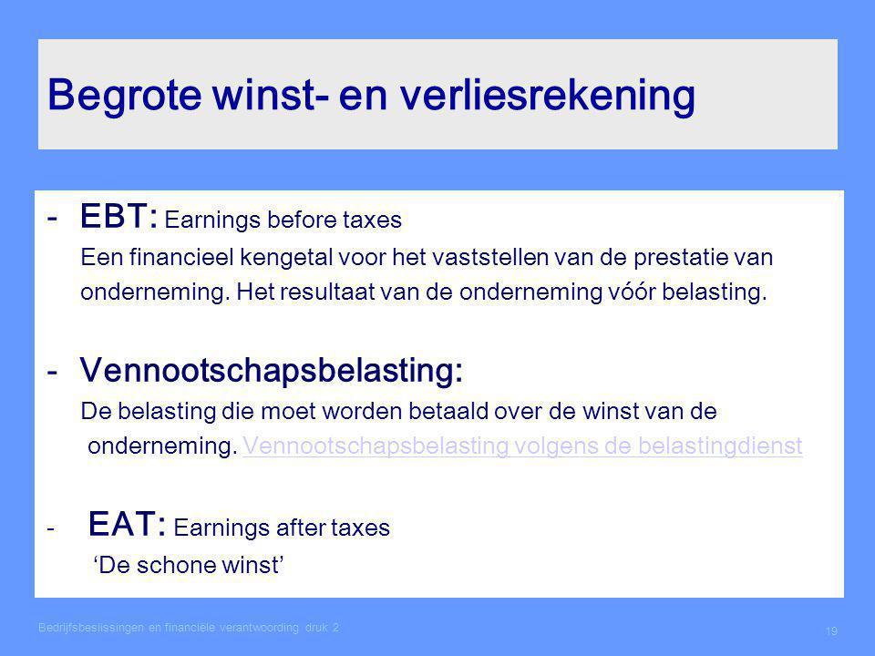 Begrote winst- en verliesrekening -EBT: Earnings before taxes Een financieel kengetal voor het vaststellen van de prestatie van onderneming. Het resul