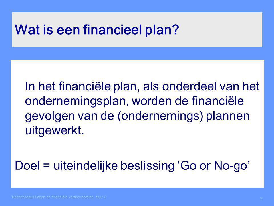 Relatie met POP Prestatiedoel: 'ik wil een financieel plan kunnen schrijven' Leerdoel: 'uit welke onderdelen bestaat een financieel plan' Leerstrategie: 'doornemen hoofdstuk 2 boek bedrijfsbeslissingen van Heezen'