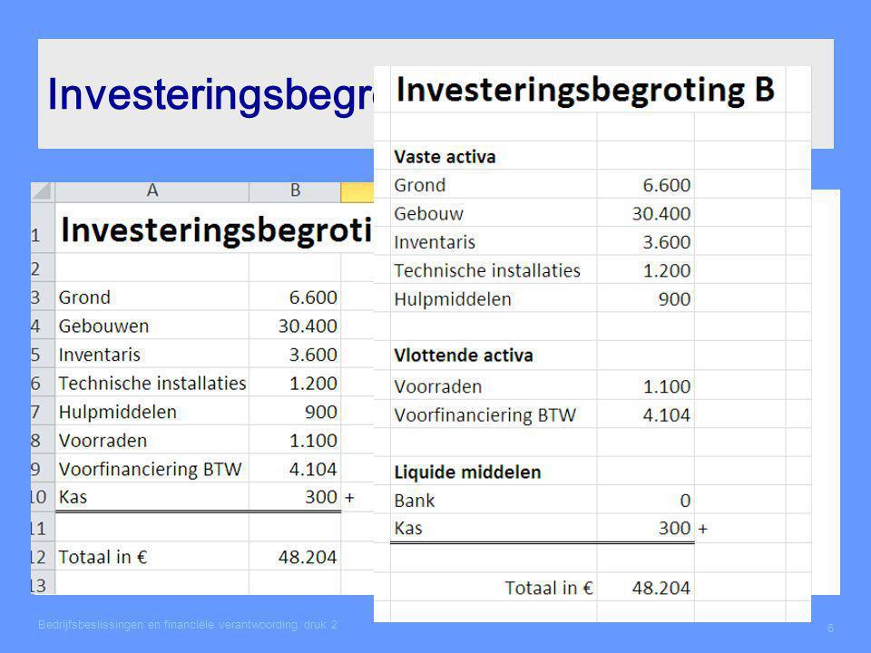 Investeringsbegroting Bedrijfsbeslissingen en financiële verantwoording druk 2 6