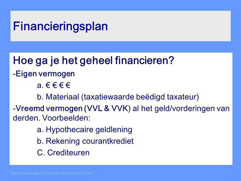 Het financieringsplan Bedrijfsbeslissingen en financiële verantwoording druk 2 8 €21.204,-