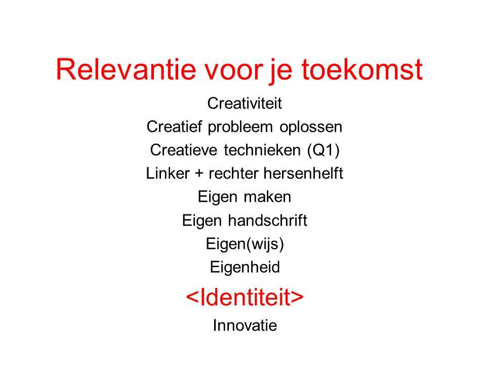 Relevantie voor je toekomst Creativiteit Creatief probleem oplossen Creatieve technieken (Q1) Linker + rechter hersenhelft Eigen maken Eigen handschri
