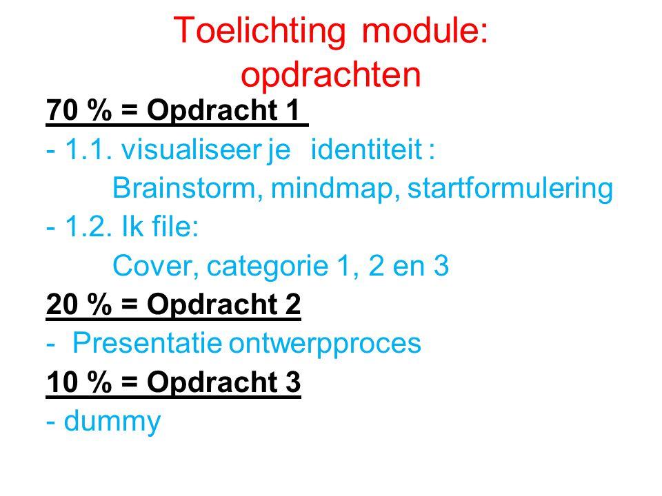 Toelichting module: opdrachten 70 % = Opdracht 1 - 1.1. visualiseer je identiteit : Brainstorm, mindmap, startformulering - 1.2. Ik file: Cover, categ