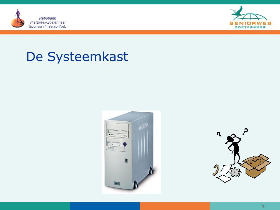 Rabobank Vlietstreek-Zoetermeer Sponsor v/h SeniorWeb 5 Onderdelen van een computer (1)  Een 'moederbord' met processor  Een of meerdere 'harde' schijven