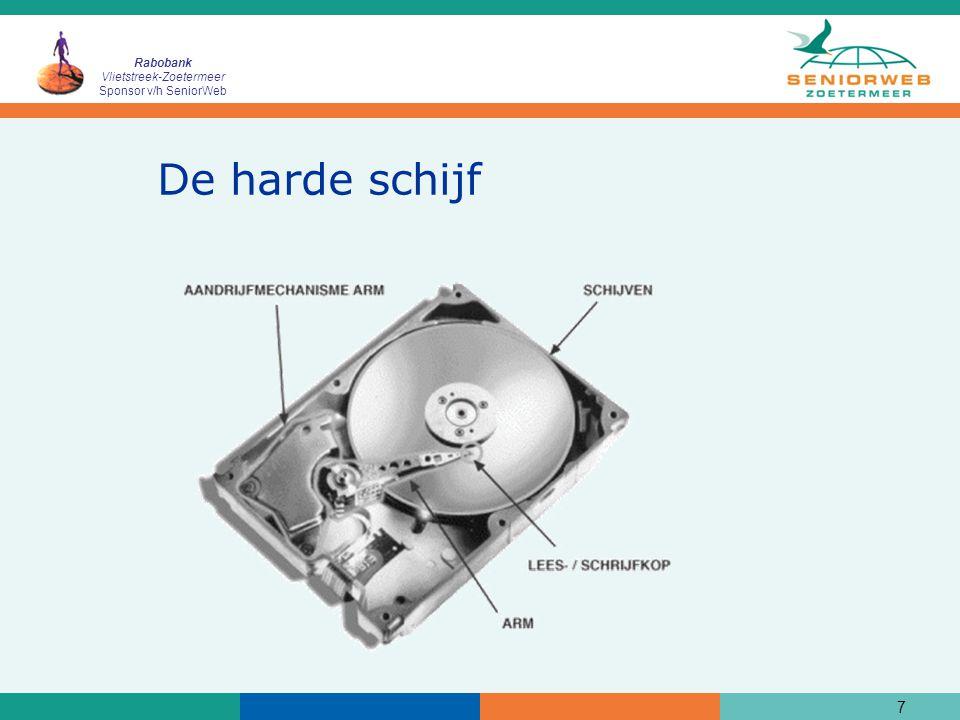 Rabobank Vlietstreek-Zoetermeer Sponsor v/h SeniorWeb 8 Onderdelen van een computer (2)  Een diskette lees/schrijfstation (dit is vaak niet meer aanwezig in een laptop)
