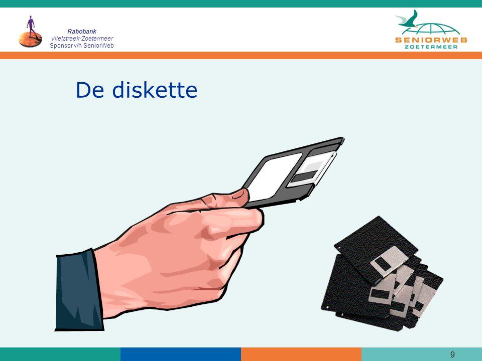 Rabobank Vlietstreek-Zoetermeer Sponsor v/h SeniorWeb Geheugenstick (USB-stick)  Wordt veel gebruikt voor opslag van gegevens in plaats van een diskette.