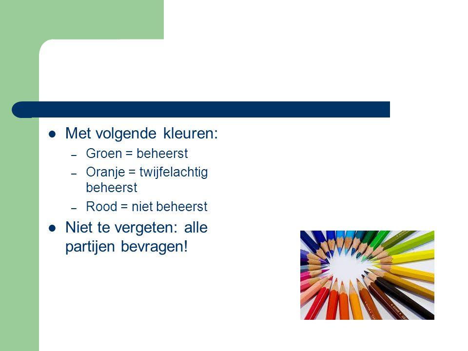 Met volgende kleuren: – Groen = beheerst – Oranje = twijfelachtig beheerst – Rood = niet beheerst Niet te vergeten: alle partijen bevragen!