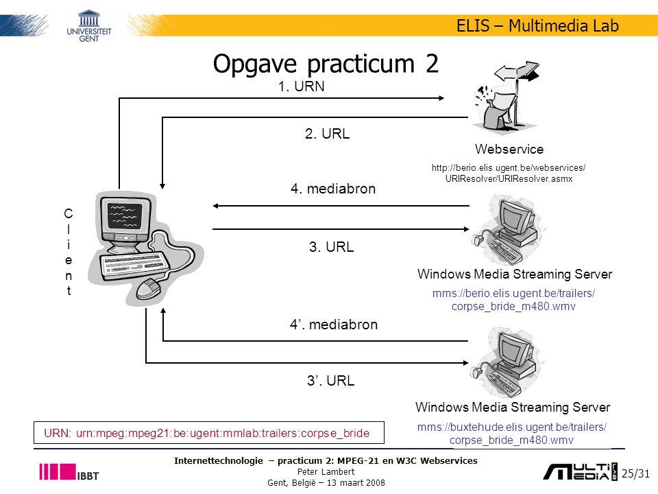 25/31 ELIS – Multimedia Lab Internettechnologie – practicum 2: MPEG-21 en W3C Webservices Peter Lambert Gent, België – 13 maart 2008 Opgave practicum 2 Webservice http://berio.elis.ugent.be/webservices/ URIResolver/URIResolver.asmx ClientClient Windows Media Streaming Server 1.
