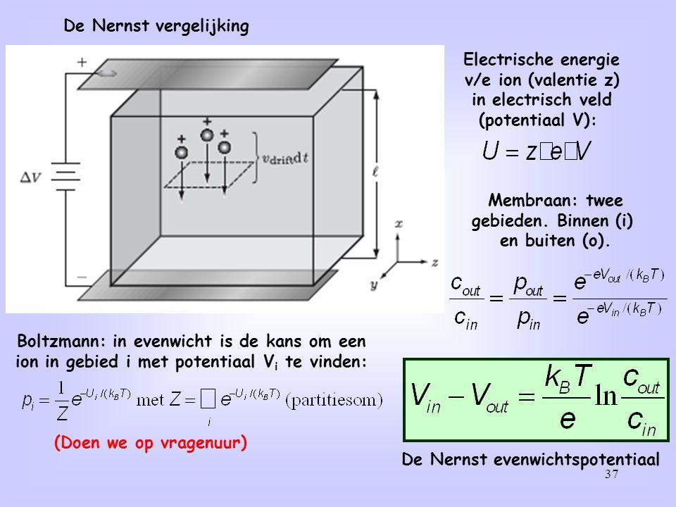 37 De Nernst vergelijking Electrische energie v/e ion (valentie z) in electrisch veld (potentiaal V): Boltzmann: in evenwicht is de kans om een ion in