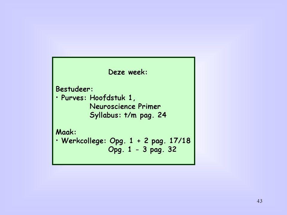 43 Deze week: Bestudeer: Purves: Hoofdstuk 1, Neuroscience Primer Syllabus: t/m pag. 24 Maak: Werkcollege: Opg. 1 + 2 pag. 17/18 Opg. 1 - 3 pag. 32