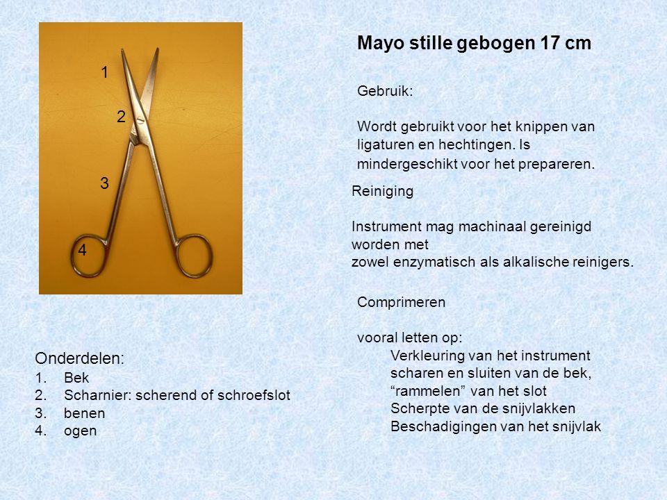 Mayo stille gebogen 17 cm Onderdelen: 1. Bek 2. Scharnier: scherend of schroefslot 3. benen 4. ogen Gebruik: Wordt gebruikt voor het knippen van ligat