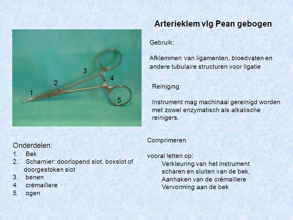 Arterieklem vlg Pean gebogen Gebruik: Afklemmen van ligamenten, bloedvaten en andere tubulaire structuren voor ligatie Reiniging Instrument mag machin