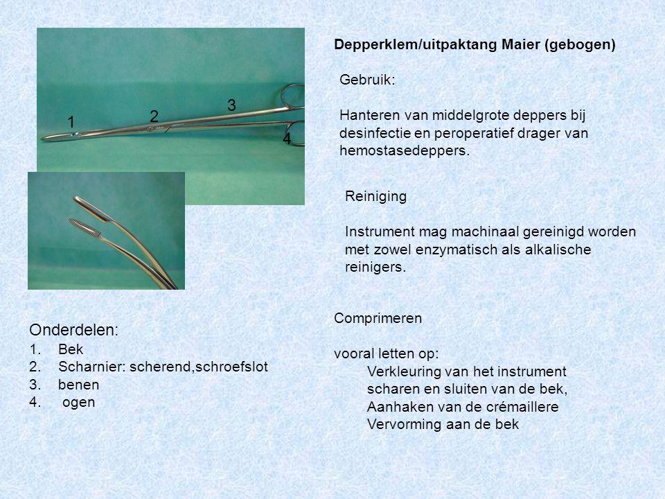 Onderdelen: 1. Bek 2. Scharnier: scherend,schroefslot 3. benen 4. ogen Reiniging Instrument mag machinaal gereinigd worden met zowel enzymatisch als a