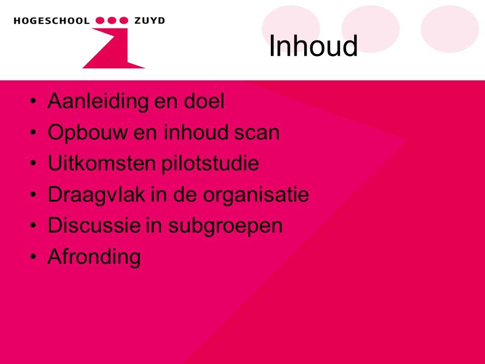 Inhoud Aanleiding en doel Opbouw en inhoud scan Uitkomsten pilotstudie Draagvlak in de organisatie Discussie in subgroepen Afronding