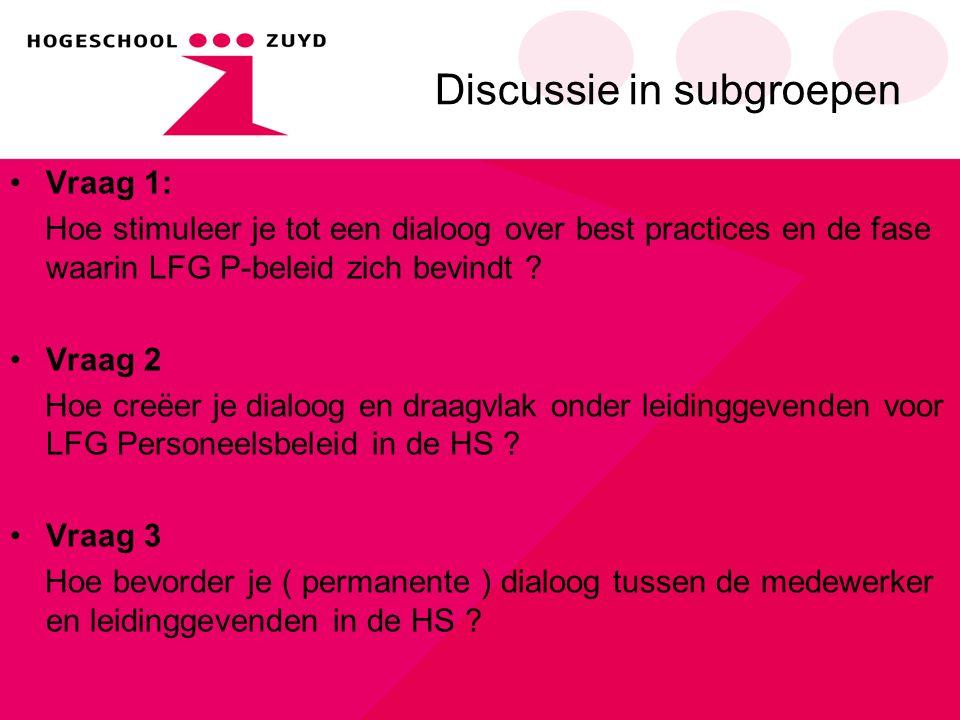 Discussie in subgroepen Vraag 1: Hoe stimuleer je tot een dialoog over best practices en de fase waarin LFG P-beleid zich bevindt ? Vraag 2 Hoe creëer