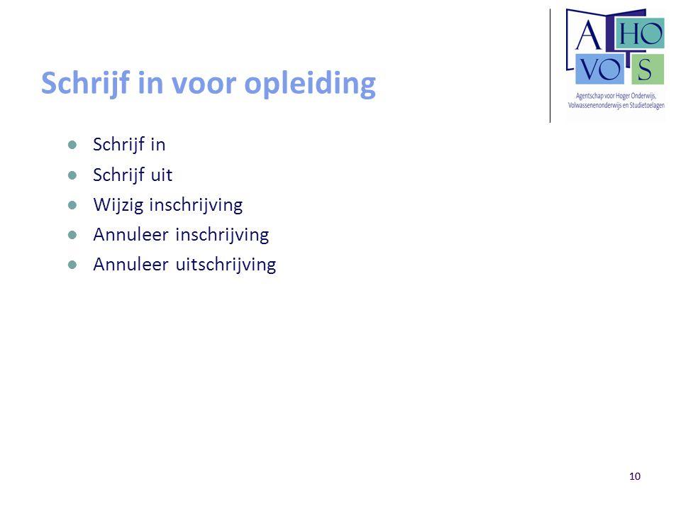 10 Schrijf in voor opleiding Schrijf in Schrijf uit Wijzig inschrijving Annuleer inschrijving Annuleer uitschrijving 10