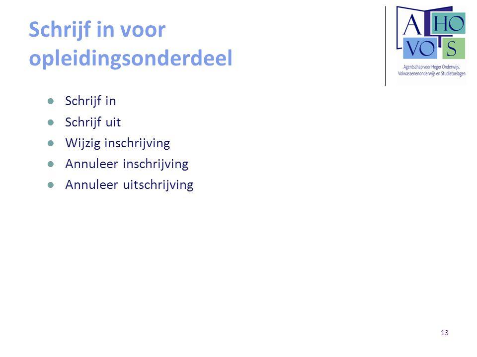 13 Schrijf in voor opleidingsonderdeel Schrijf in Schrijf uit Wijzig inschrijving Annuleer inschrijving Annuleer uitschrijving
