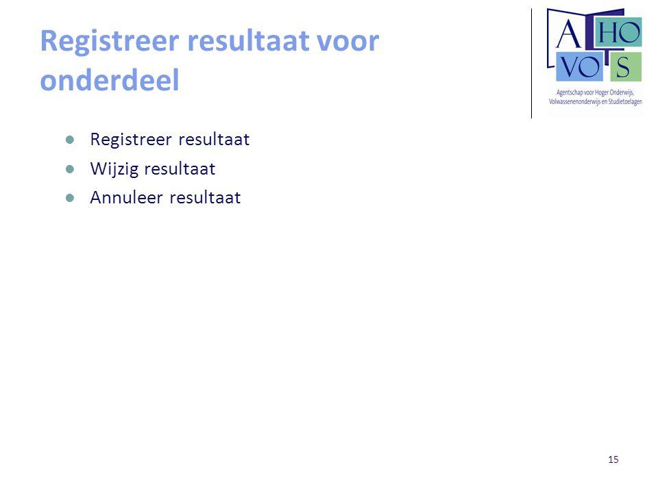 15 Registreer resultaat voor onderdeel Registreer resultaat Wijzig resultaat Annuleer resultaat