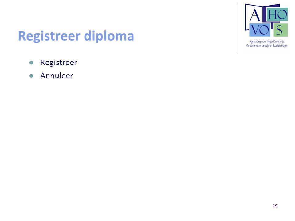 19 Registreer diploma Registreer Annuleer