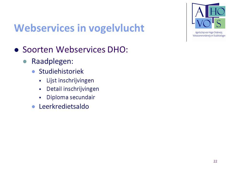 22 Webservices in vogelvlucht Soorten Webservices DHO: Raadplegen: Studiehistoriek  Lijst inschrijvingen  Detail inschrijvingen  Diploma secundair Leerkredietsaldo