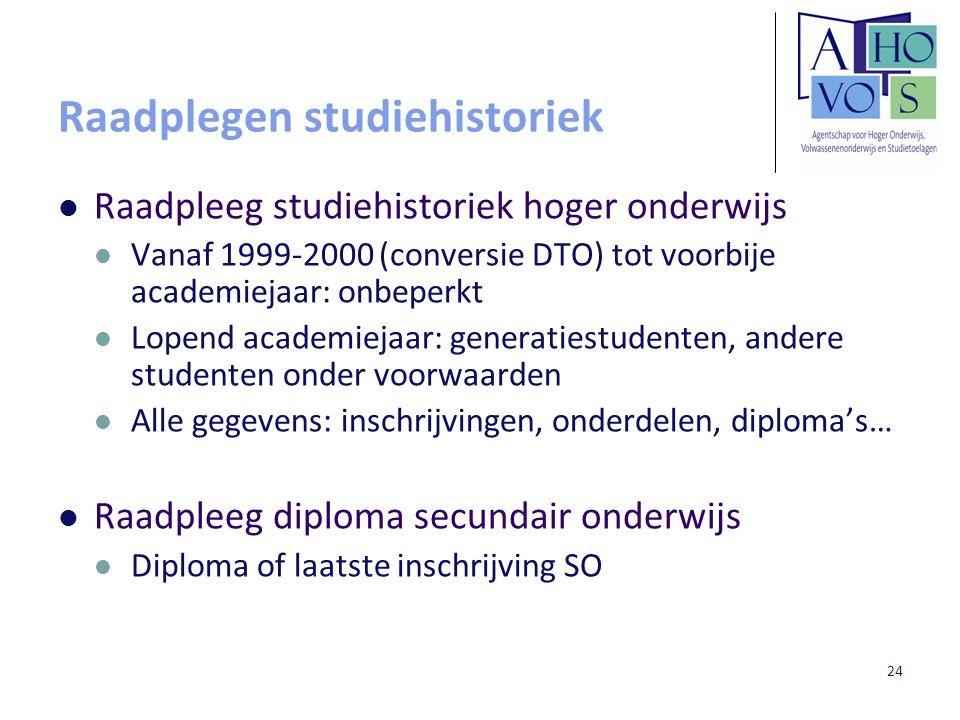 24 Raadplegen studiehistoriek Raadpleeg studiehistoriek hoger onderwijs Vanaf 1999-2000 (conversie DTO) tot voorbije academiejaar: onbeperkt Lopend ac