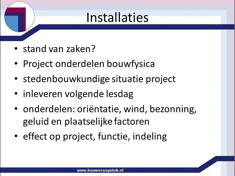 stand van zaken? Project onderdelen bouwfysica stedenbouwkundige situatie project inleveren volgende lesdag onderdelen: oriëntatie, wind, bezonning, g