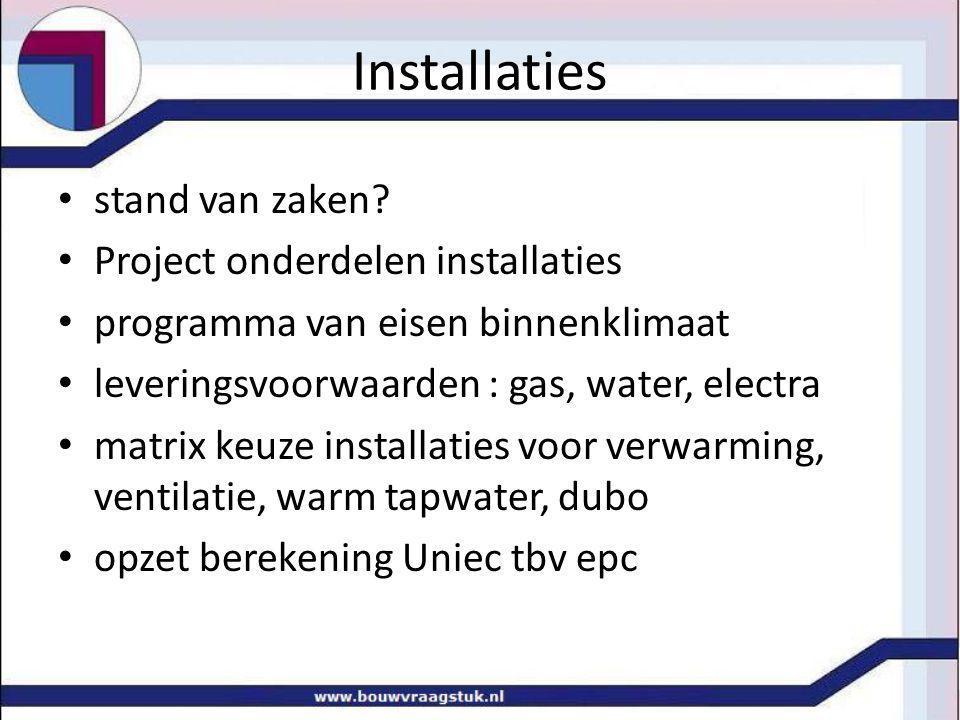 Installaties stand van zaken? Project onderdelen installaties programma van eisen binnenklimaat leveringsvoorwaarden : gas, water, electra matrix keuz