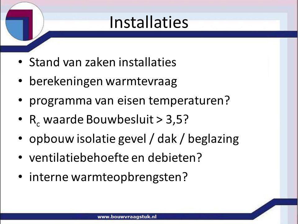 Stand van zaken installaties berekeningen warmtevraag programma van eisen temperaturen? R c waarde Bouwbesluit > 3,5? opbouw isolatie gevel / dak / be
