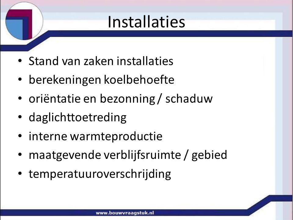 Installaties Stand van zaken installaties berekeningen koelbehoefte oriëntatie en bezonning / schaduw daglichttoetreding interne warmteproductie maatgevende verblijfsruimte / gebied temperatuuroverschrijding