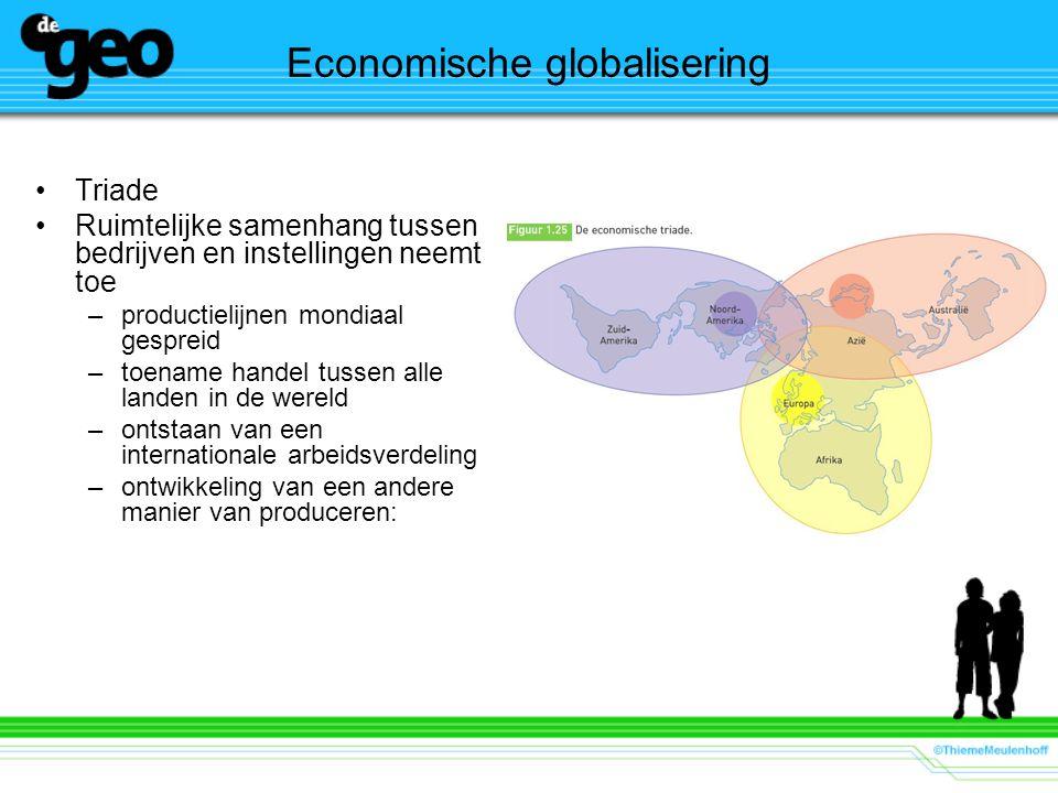 Economische globalisering Triade Ruimtelijke samenhang tussen bedrijven en instellingen neemt toe –productielijnen mondiaal gespreid –toename handel t