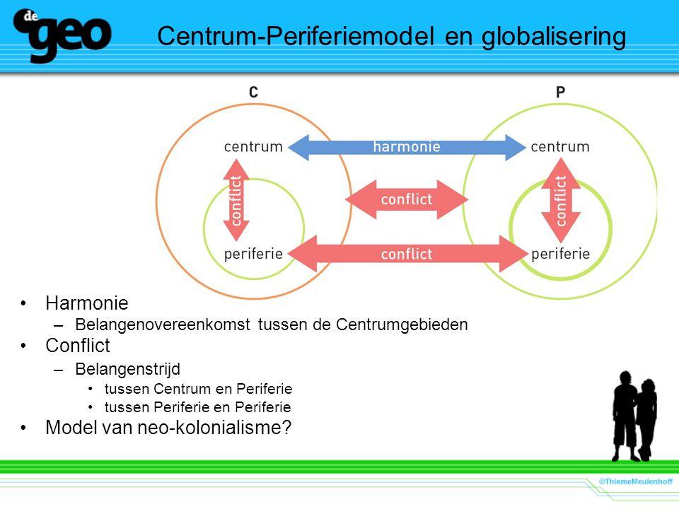 Centrum-Periferiemodel en globalisering Harmonie –Belangenovereenkomst tussen de Centrumgebieden Conflict –Belangenstrijd tussen Centrum en Periferie tussen Periferie en Periferie Model van neo-kolonialisme?