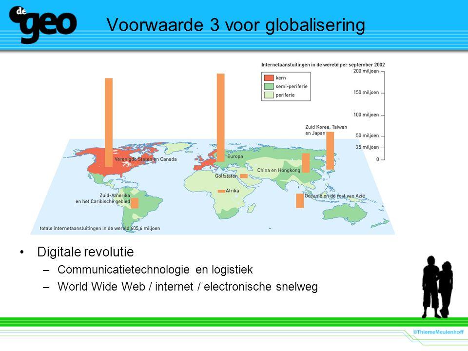 Voorwaarde 3 voor globalisering Digitale revolutie –Communicatietechnologie en logistiek –World Wide Web / internet / electronische snelweg