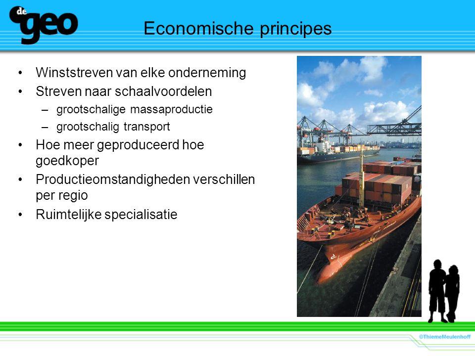 Economische principes Winststreven van elke onderneming Streven naar schaalvoordelen –grootschalige massaproductie –grootschalig transport Hoe meer geproduceerd hoe goedkoper Productieomstandigheden verschillen per regio Ruimtelijke specialisatie