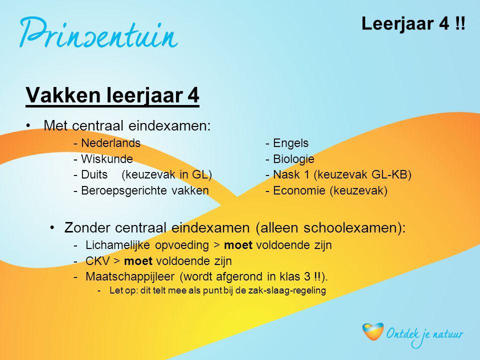 Vakken leerjaar 4 Met centraal eindexamen: - Nederlands- Engels - Wiskunde- Biologie - Duits(keuzevak in GL)- Nask 1 (keuzevak GL-KB) - Beroepsgerichte vakken - Economie (keuzevak) Zonder centraal eindexamen (alleen schoolexamen): -Lichamelijke opvoeding > moet voldoende zijn -CKV > moet voldoende zijn -Maatschappijleer (wordt afgerond in klas 3 !!).