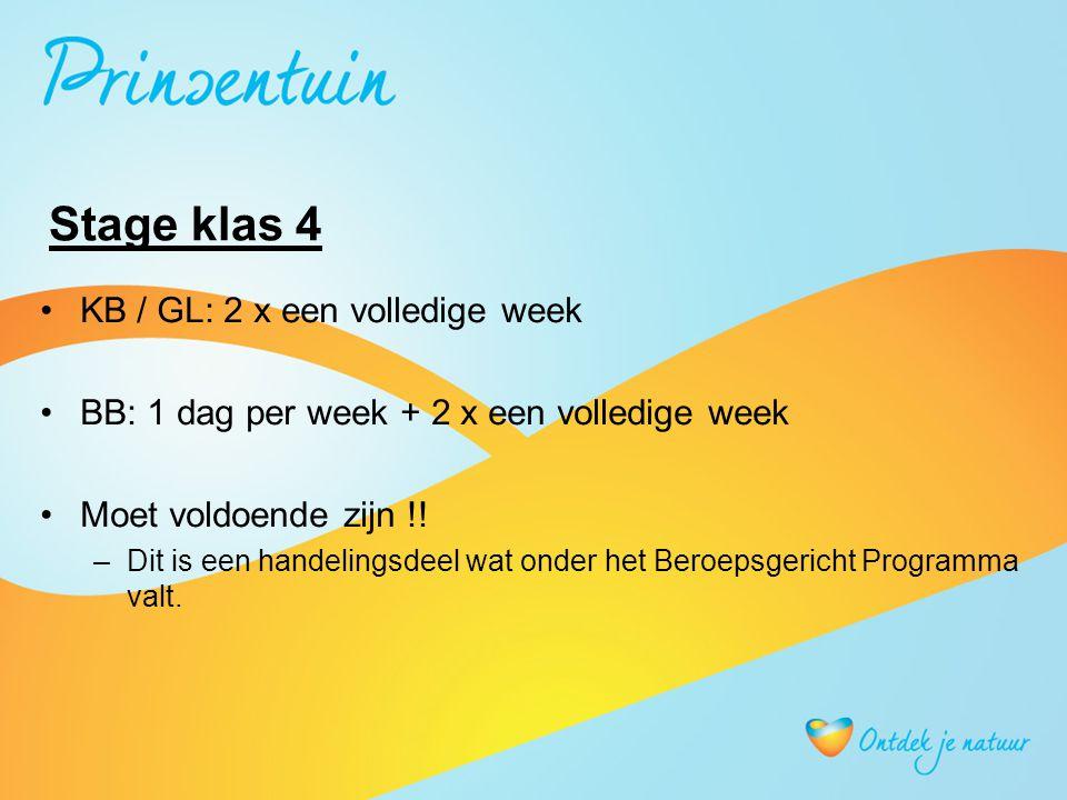 Stage klas 4 KB / GL: 2 x een volledige week BB: 1 dag per week + 2 x een volledige week Moet voldoende zijn !.