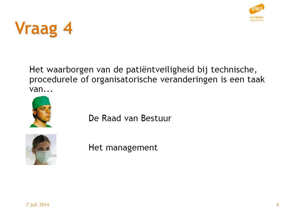 7 juli 20144 Het waarborgen van de patiëntveiligheid bij technische, procedurele of organisatorische veranderingen is een taak van...