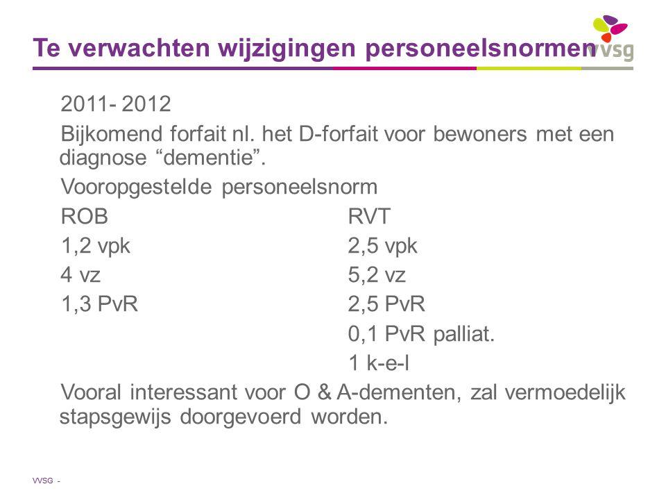 """VVSG - Te verwachten wijzigingen personeelsnormen 2011- 2012 Bijkomend forfait nl. het D-forfait voor bewoners met een diagnose """"dementie"""". Vooropgest"""
