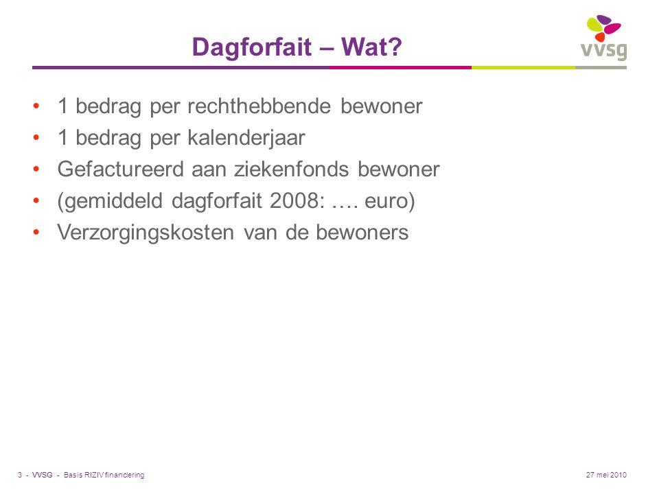 VVSG - Dagforfait – Wat? 1 bedrag per rechthebbende bewoner 1 bedrag per kalenderjaar Gefactureerd aan ziekenfonds bewoner (gemiddeld dagforfait 2008:
