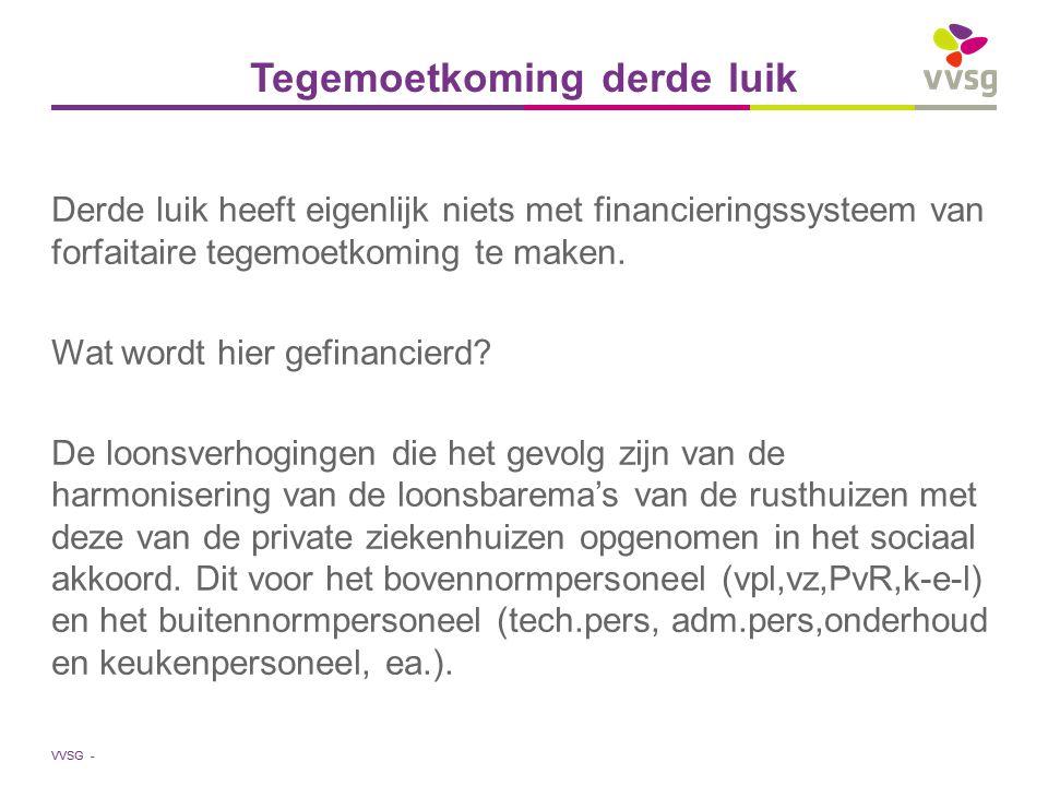 VVSG - Tegemoetkoming derde luik Derde luik heeft eigenlijk niets met financieringssysteem van forfaitaire tegemoetkoming te maken. Wat wordt hier gef