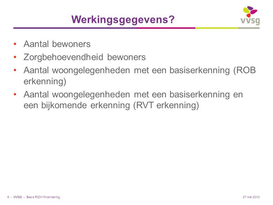 VVSG - Werkingsgegevens? Aantal bewoners Zorgbehoevendheid bewoners Aantal woongelegenheden met een basiserkenning (ROB erkenning) Aantal woongelegenh