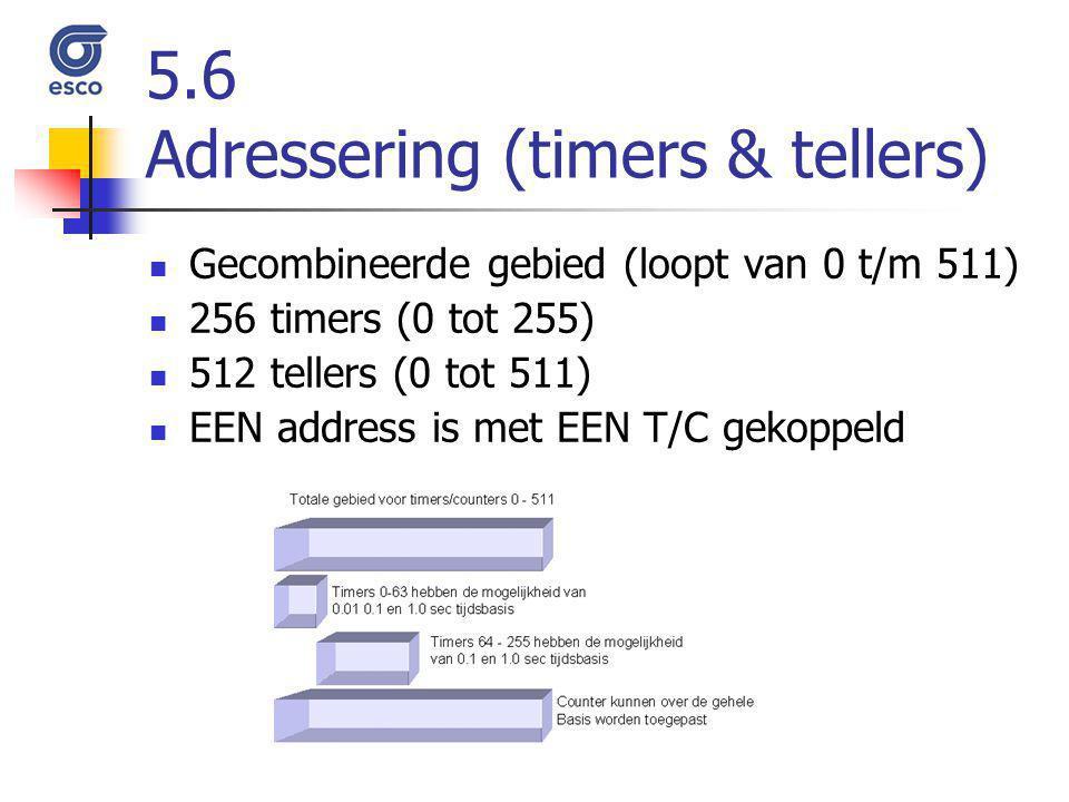 5.6 Adressering (timers & tellers) Gecombineerde gebied (loopt van 0 t/m 511) 256 timers (0 tot 255) 512 tellers (0 tot 511) EEN address is met EEN T/