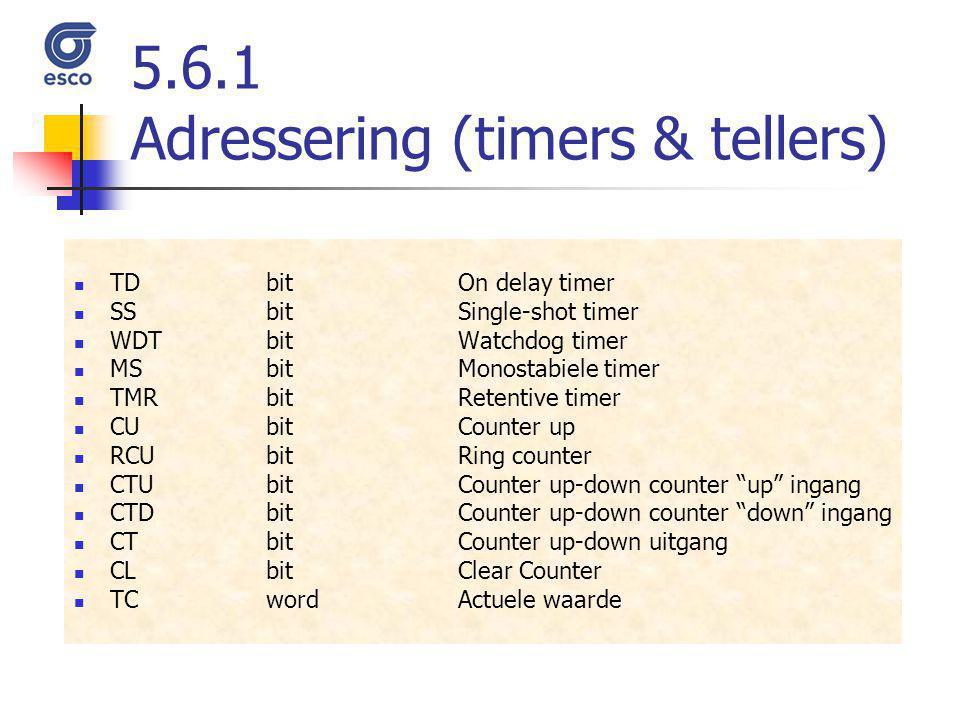 5.6.1 Adressering (timers & tellers) TDbitOn delay timer SSbitSingle-shot timer WDTbitWatchdog timer MSbitMonostabiele timer TMRbitRetentive timer CUb