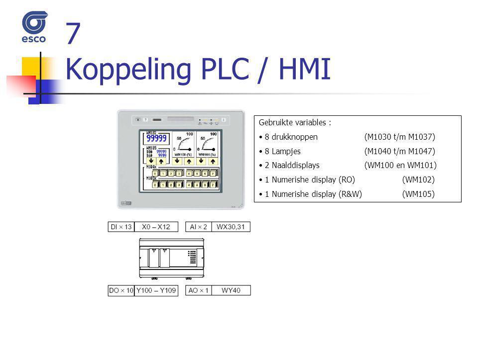 7 Koppeling PLC / HMI Gebruikte variables : 8 drukknoppen (M1030 t/m M1037) 8 Lampjes (M1040 t/m M1047) 2 Naalddisplays (WM100 en WM101) 1 Numerishe d