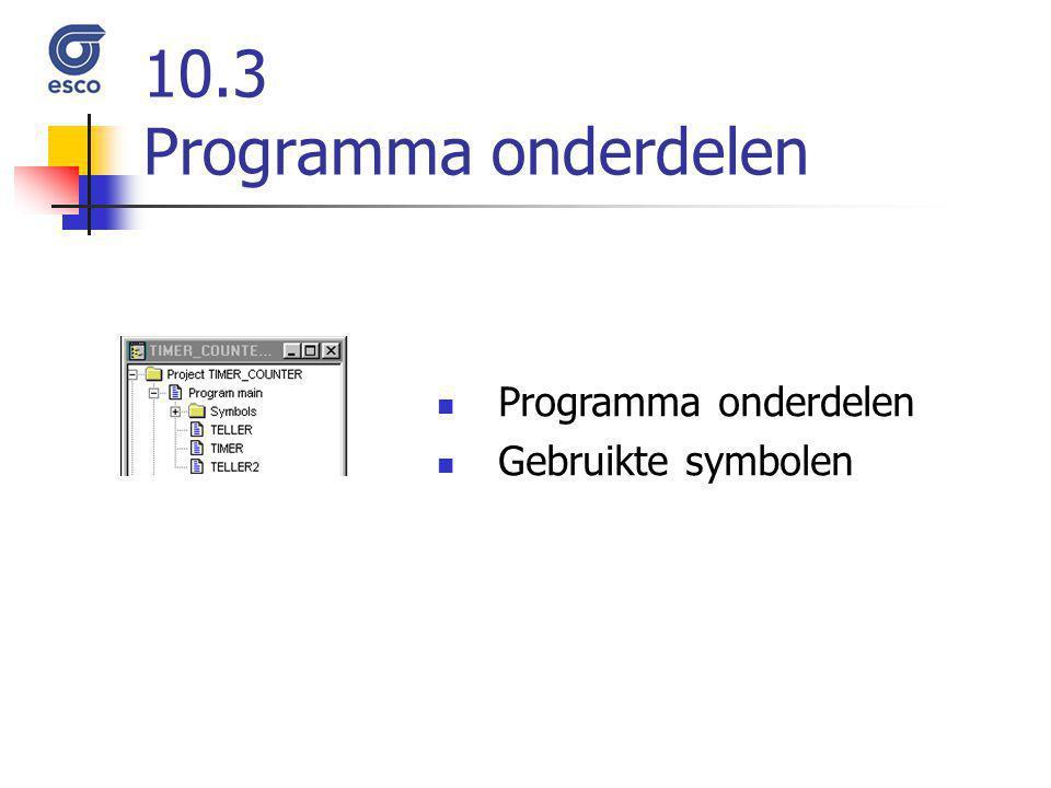 10.3 Programma onderdelen Programma onderdelen Gebruikte symbolen