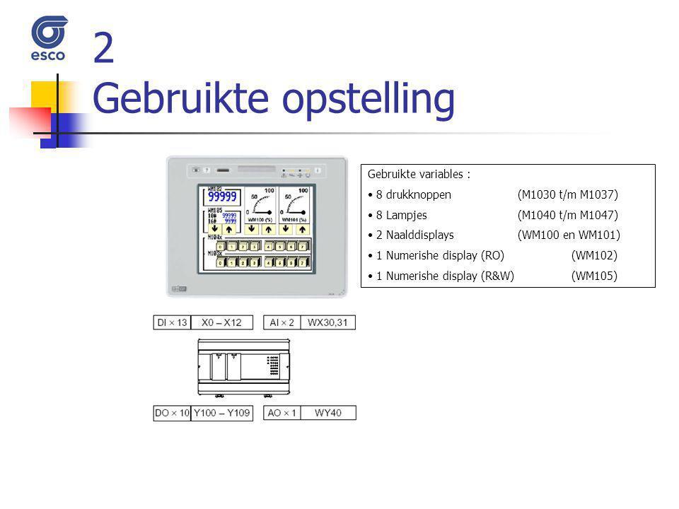 2 Gebruikte opstelling Gebruikte variables : 8 drukknoppen (M1030 t/m M1037) 8 Lampjes (M1040 t/m M1047) 2 Naalddisplays (WM100 en WM101) 1 Numerishe