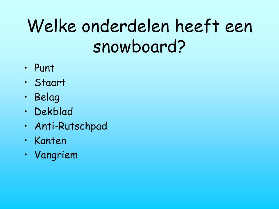 Welke onderdelen heeft een snowboard? Punt Staart Belag Dekblad Anti-Rutschpad Kanten Vangriem