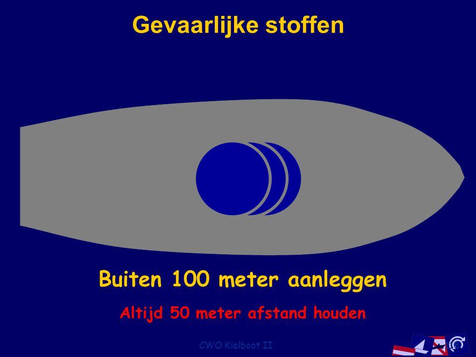 CWO Kielboot II118 Gevaarlijke stoffen Buiten 10 meter aanleggenBuiten 50 meter aanleggenBuiten 100 meter aanleggen Altijd 50 meter afstand houden