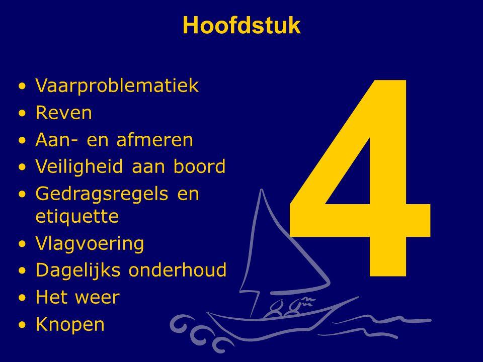 CWO Kielboot II131 Hoofdstuk 4 Vaarproblematiek Reven Aan- en afmeren Veiligheid aan boord Gedragsregels en etiquette Vlagvoering Dagelijks onderhoud Het weer Knopen