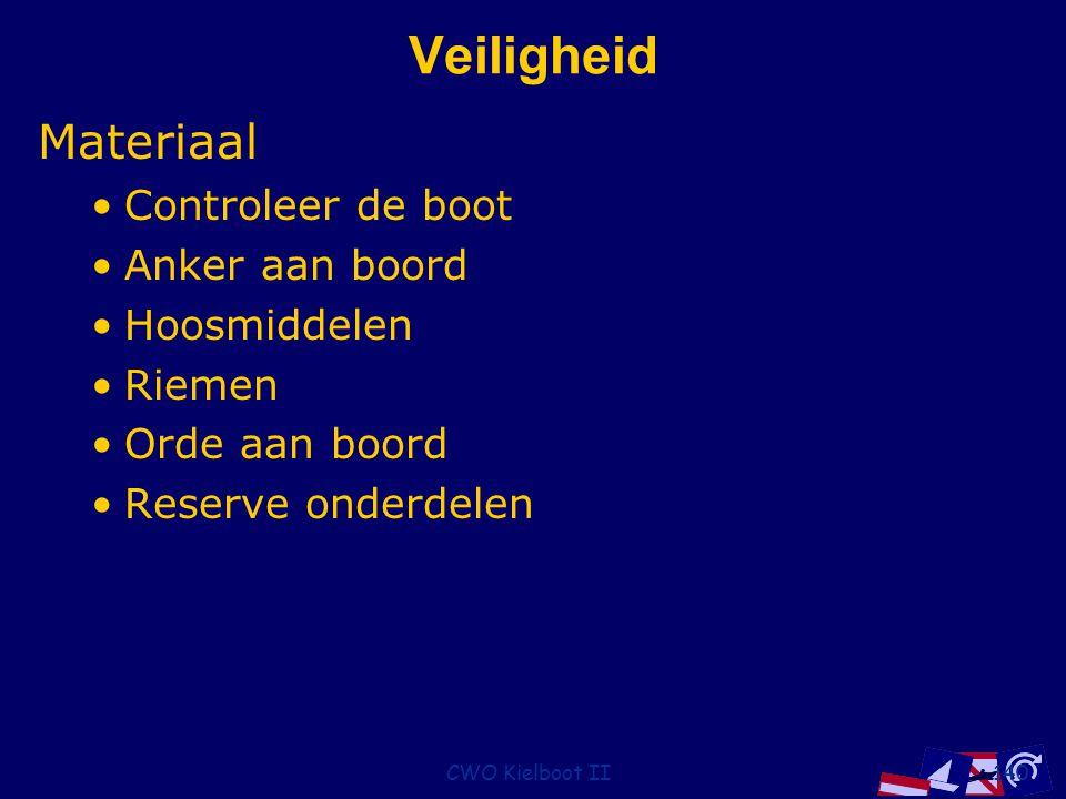 CWO Kielboot II140 Veiligheid Materiaal Controleer de boot Anker aan boord Hoosmiddelen Riemen Orde aan boord Reserve onderdelen