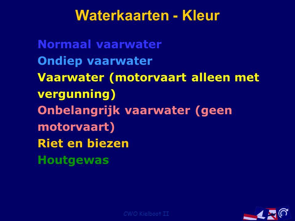 CWO Kielboot II28 Waterkaarten - Kleur Normaal vaarwater Ondiep vaarwater Vaarwater (motorvaart alleen met vergunning) Onbelangrijk vaarwater (geen motorvaart) Riet en biezen Houtgewas